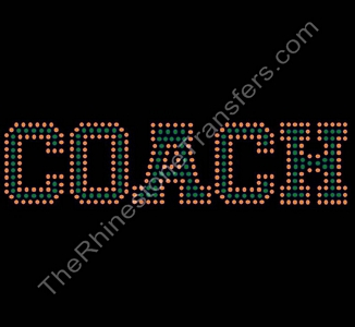 COACH - Varsity Font Outlined - Orange and Green - Rhinestone Transfer