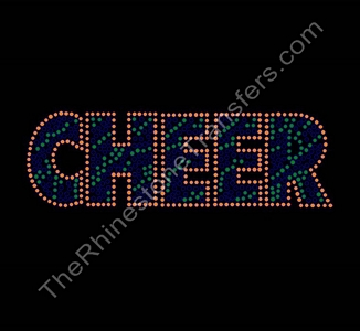 CHEER - Zebra Print - Orange and Green - Rhinestone Transfer