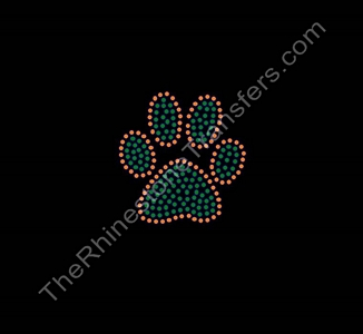 Paw Print - 3 Inches - Orange and Green - Rhinestone Transfer