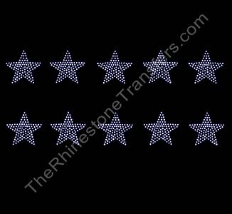 Petite Filled Star - 1.5 Inches - ss6 Stones - 10 per Sheet - CUSTOMIZE YOUR COLORS - Rhinestone Transfer