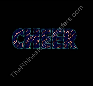 CHEER - Zebra Print - Green and Orange - Rhinestone Transfer