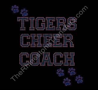 Tigers CHEER COACH - Varsity with Paw Prints - Orange and Green - Rhinestone Transfer