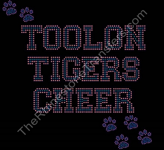 Toolon Tigers Cheer - with Paw Prints - Orange and Green - Rhinestone Transfer