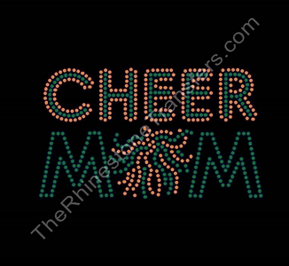 CHEER MOM - with Pom - Green with Orange Highlights - Rhinestone Transfer