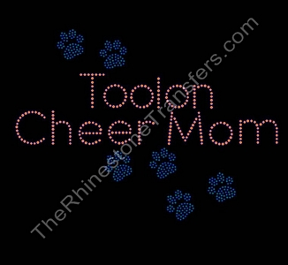 Toolon Cheer Mom - with Paw Prints - Rhinestone Transfer