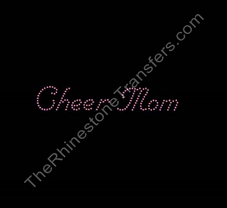 Cheer Mom - Nuptial Font - Orange - Small - Rhinestone Transfer