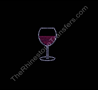 Red Wine Glass - Rhinestone Transfer