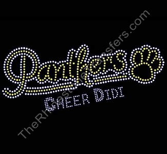 Panthers CHEER DIDI- with Paw Print - Yellow - Rhinestone Transfer