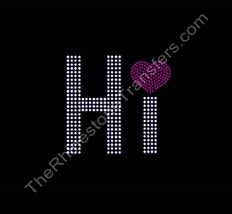 Hi - With Heart - Rhinestone Transfer