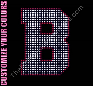 Varsity Letter B - 6 Inches - with Outline - CUSTOMIZE YOUR COLORS - Rhinestone Transfer