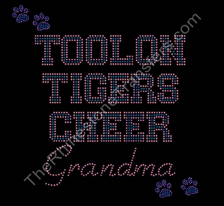 Toolon Tigers Cheer Grandma - with Paw Prints - Orange and Green - Rhinestone Transfer