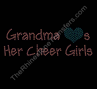 Grandma Hearts Her Cheer Girls - Orange and Green - Rhinestone Transfer
