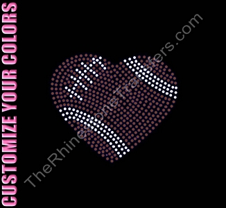 Football Heart - 4.5 Inches - Rhinestone Transfer