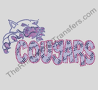 COUGARS with Cougar - Fun Font - Zebra Fill - Clear with Red Outline - LARGE - Rhinestone Transfer