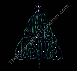 Merry Christmas - Christmas Tree - Rhinestone Transfer