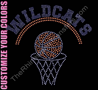 TEAM NAME - with Basketball and Hoop - Personalized - CUSTOMIZE YOUR COLORS - Rhinestone Transfer