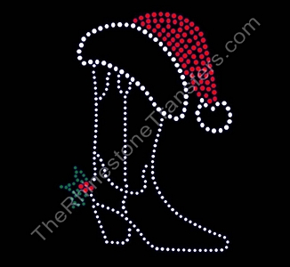 Cowboy Boot - With Santa Hat - Rhinestone Transfer