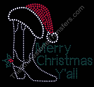 Merry Christmas Y'all - With Cowboy Boot and Santa Hat - Rhinestone Transfer