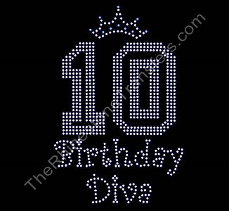 Birthday Diva - Curlz Font - With Crown - PERSONALIZED - CUSTOMIZE YOUR COLORS - Rhinestone Transfer
