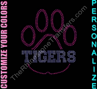 TEAM NAME Inside Paw Print - Personalized - CUSTOMIZE YOUR COLORS - Rhinestone Transfer