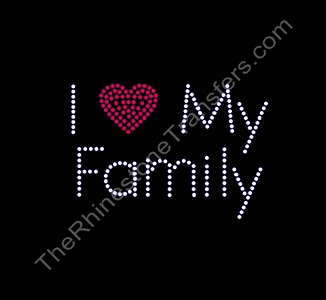 I Heart My Family - Rhinestone Transfer