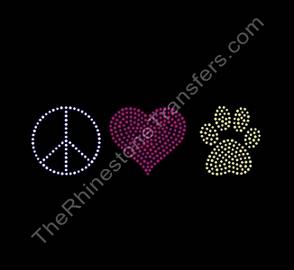 Peace Heart Paw - CUSTOMIZE YOUR COLORS - Rhinestone Transfer