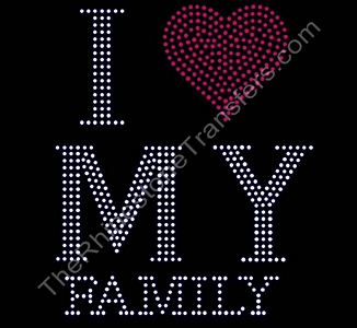 I Heart My Family - Large - Rhinestone Transfer
