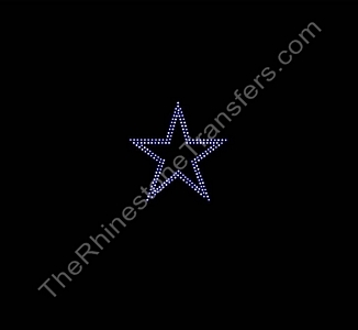 Star - 3.0 Inches - 2 Rows of Stones - Rhinestone Transfer