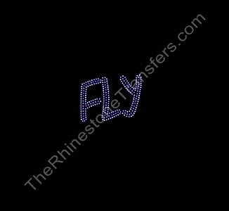 FLY - Small - Pink with Clear Outline - Rhinestone Transfer