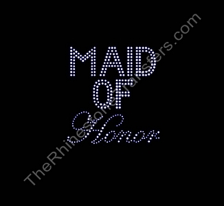 Maid of Honor - Double Line and Fancy Script - Rhinestone Transfer