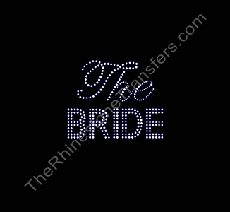 The Bride - Double Line and Fancy Script - Rhinestone Transfer