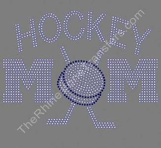 HOCKEY MOM - with Puck and Sticks - Crystal & Jet Black - Rhinestone Transfer