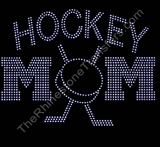 HOCKEY MOM - with Puck and Sticks - All Crystal - Rhinestone Transfer