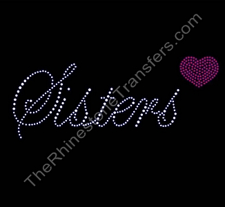 Sisters - Fancy Script - With Heart - Rhinestone Design File Download