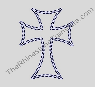 Cross - Double Lines - Not Filled - Jet Black - Rhinestone Transfer