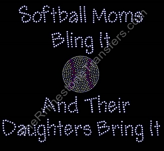 Softball Moms Bling It - Rhinestone Transfer