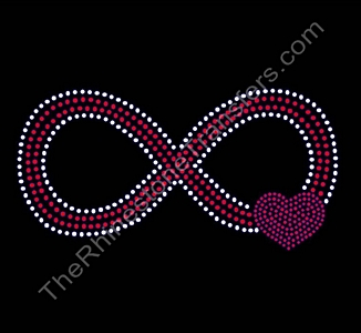 Infinity Symbol - With Heart - Rhinestone Transfer