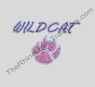 WILDCAT - with Paw - Filled - Siam & Jet Black - Rhinestone Transfer