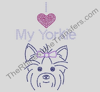 I Heart My Yorkie - With Dog - Rhinestone Transfer