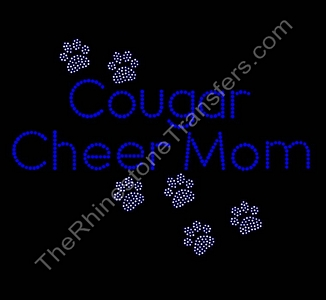 Cougar Cheer Mom - with Paw Prints - Cobalt - Rhinestone Transfer