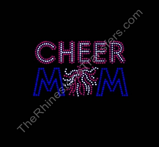 CHEER MOM - Siam and Cobalt - Rhinestone Transfer