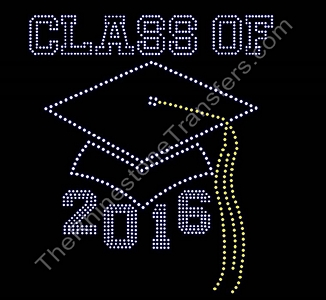 Class of 2016 - With Cap - Rhinestone Transfer