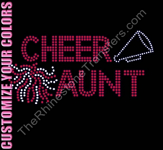 Cheer Aunt - With Pom and Megaphone - CUSTOMIZE YOUR COLORS - Rhinestone Transfer