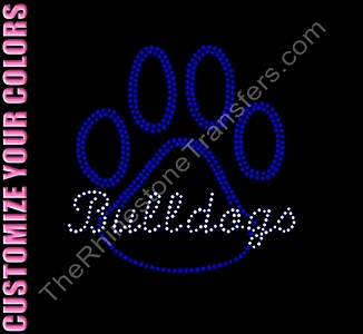 Bulldogs thru Paw Print - Outline - CUSTOMIZE YOUR COLORS - Rhinestone Transfer
