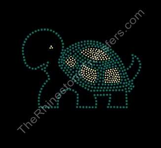 Turtle - Green and Citrine - Rhinestone Transfer