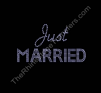 Just Married - Script and Bold Combo- Rhinestone Transfer