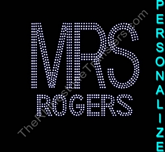 MRS - Personalized - Double Line - Rhinestone Transfer