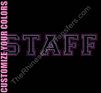 STAFF - 2 Rows Stones - Varsity - CUSTOMIZE YOUR COLORS - Rhinestone Transfer