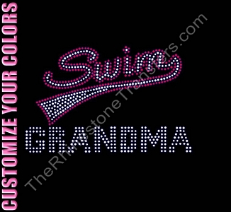 Retro Swim GRANDMA - CUSTOMIZE YOUR COLORS - Rhinestone Transfer