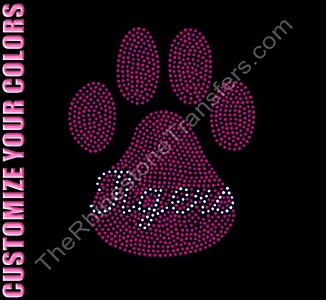 Tigers through Paw Print - Filled - CUSTOMIZE YOUR COLORS - Rhinestone Transfer